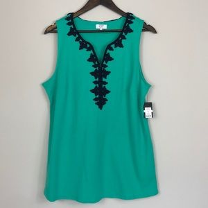 Crown & Ivy Green Sleeveless Top size 0X